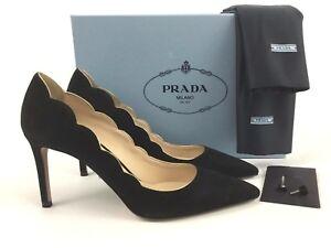 8058094862495 Gold geschulpte 39 9 puntige Piping Pump teen zwart Prada Suede fymYvI76bg