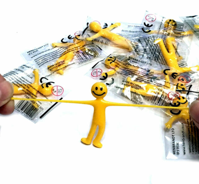 Yellow Stretchy Smiley Man Kids 12,24 Party Loot Bag Filler Children/'s Fun Toy
