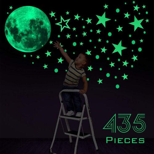 Fluoreszierend Leuchtend Stars Eine Mond Planet Raum Wandsticker Aufkleber PVC
