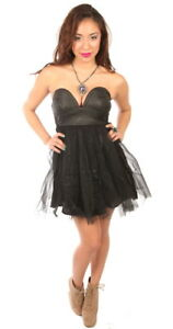 Black-Faux-Leather-and-Tulle-Rocker-Dress-Smaller-Fit-Reverse-Brand-Dress-Sexy