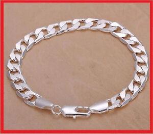 Bracelet Gourmette 21cm pour homme en vrai argent 925 massif large de 8mm neuve