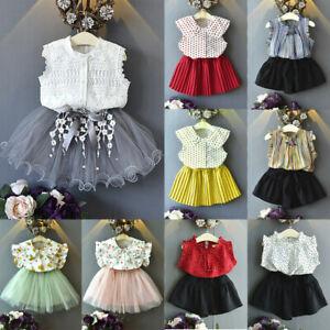 Toddler Kids Baby Girls Outfits Clothes T-shirt Tops+Pants//Shorts//Skirt 2PCS Set