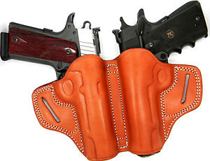 PREMIUM BROWN LEATHER DOUBLE DUAL 2-GUN HOLSTER SMALL OF