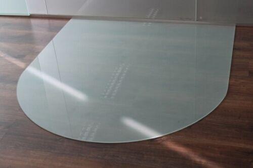 Funkenschutzplatte Milchglas Kaminbodenplatte ... Rundbogen *Frosty* 100x120cm