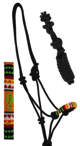 Nylon Horse Braided Beaded Noseband Rope HALTER Lead Rope Tack Black 606RT32