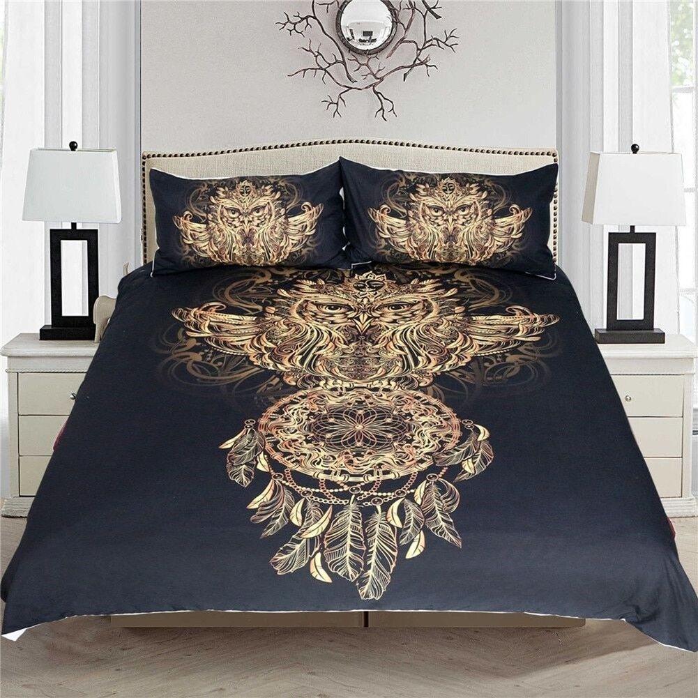 Golden Owl Bedding Set Luxury Duvet Cover With Pillowcases King Cal-king Größes