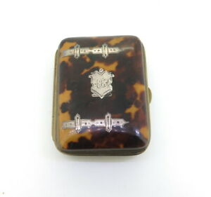 Antique-Faux-Tortoiseshell-Silver-Pique-Inlaid-Brass-Framed-Tiny-Purse-c1800-039-s