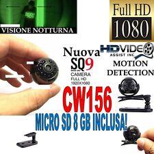 TELECAMERA SPIA MICROCAMERA FULLHD NASCOSTA NIGHT VISION MINI SQ9 + SD 8GB CW156