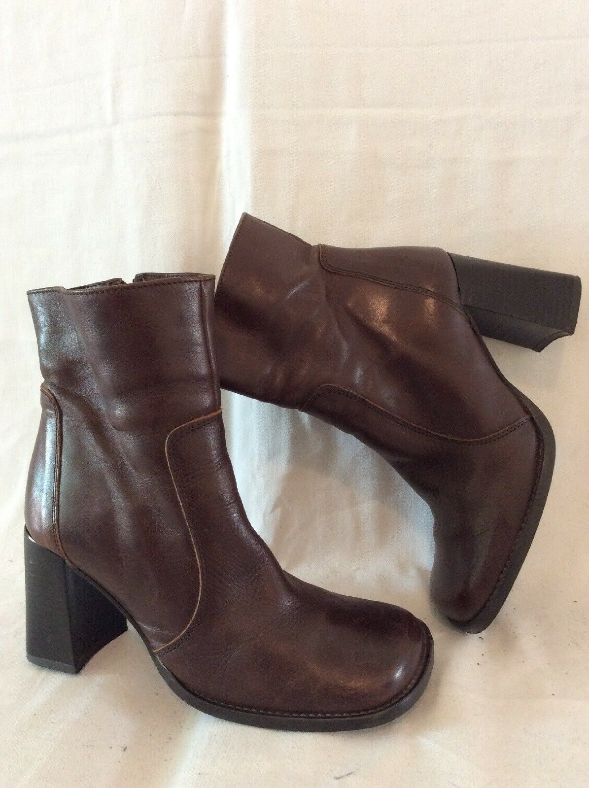 Barratts Brown Ankle Leather Boots Size 37