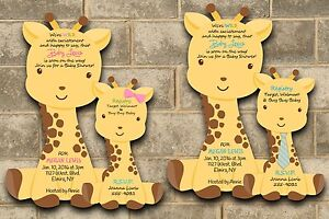 Jungle Die Cut Giraffe baby Shower Invitations Giraffes Theme