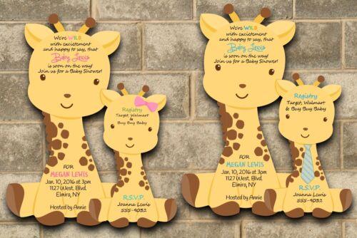 baby shower invitation boy or girl custom giraffe jungle safari invitations