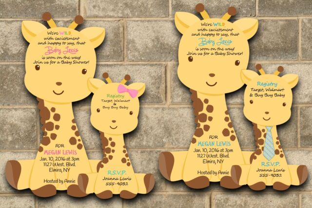 40 Die Cut Giraffe Baby Shower Invitations Giraffes Theme