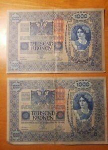 Pre-WWI-Currency-2-1000-Tausend-Kronen-Bank-Notes-Austria-Hungary-1902