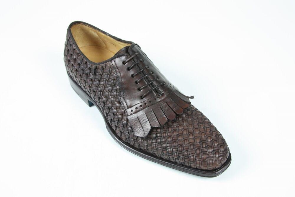 Sutor Mantellassi Shoes Dark brown lattice kilted oxford