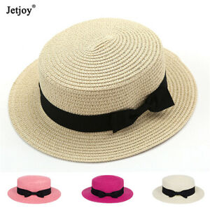 ea69a24e6 Classic Women Kids Summer Beach Sun Hats Flat Top Bow Wide Brim ...