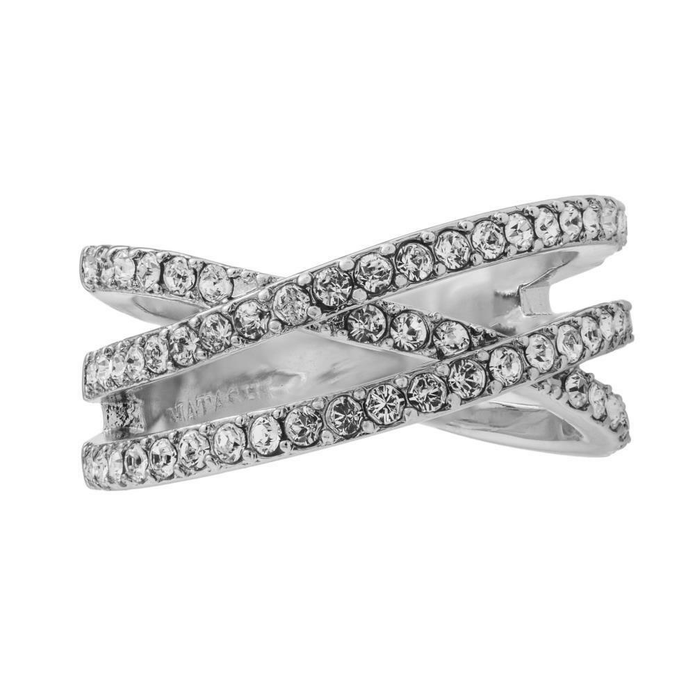 Pave Design 18k White gold Plated Double Crossed Ring by Matashi Crystals Size 5