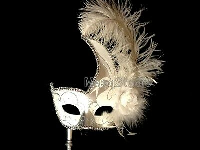 Masquerade birthday wedding White mask graduation Engagement birdal stick party 1B6qwEw