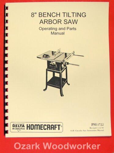 "DELTA-HOMECRAFT 8/"" Tilting Arbor Table Saw 34-500 Operator/'s /& Parts Manual 0223"