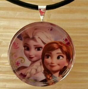 034-ELSA-amp-ANNA-034-Disney-039-s-Frozen-Glass-Pendant-with-Leather-Necklace