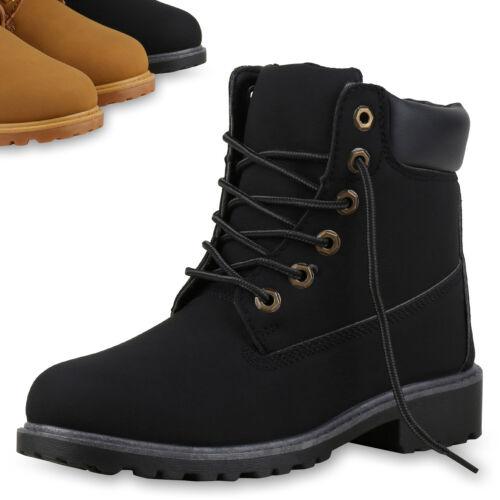 Damen Stiefeletten Worker Boots Profilsohle Outdoor Schuhe Schnürboot 813393 Top