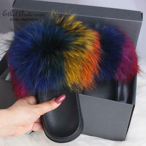 Popular Real Fox Fur Slippers Womens Vogue Raccoon Fur Casual Slides Shoes