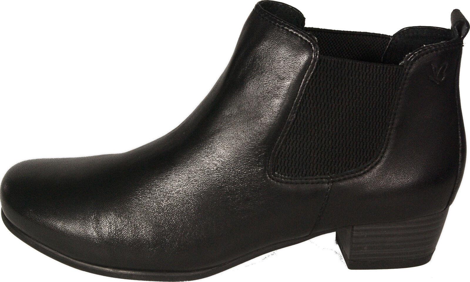 Caprice zapatos chelsea botas botines negro cuero genuino nuevo cremallera