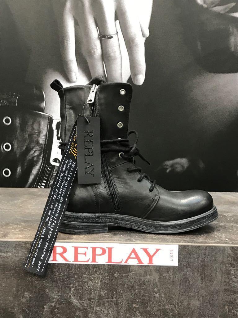 Replay Damenschuhe Schuhe Stiefel Stiefelette Stiefel Leder Cletic Patches Patches Patches Nieten   459626