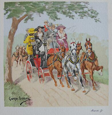 COURSE CHEVAUX VERS  1930 . 1859-1933 BUSSON GEORGES GRAVURE EN COULEURS