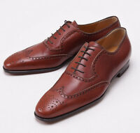$1050 Sutor Mantellassi Chestnut Brown Laceup Wingtip Us 10.5 D Dress Shoes on sale