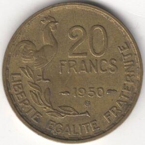 1950-B-France-20-francs-3-panaches-Europe-Pieces-Pennies-2-LB-environ-0-91-kg