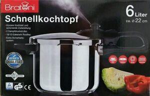 Bratoni-Schnellkochtopf-6-Liter-Kochtopf-Edelstahltopf-Neu