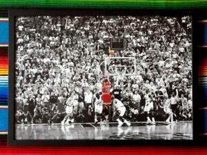 Framed-MICHAEL-JORDAN-Chicago-Bulls-039-Last-Shot-039-NBA-Poster-45cm-x-32cm-x-3cm