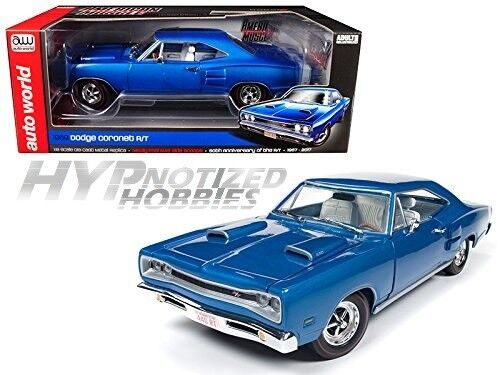 Auto World 1 18 1969 Dodge Coronet R T 50esimo Anniversario Modellino Blu