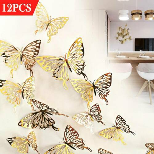 12Pcs//Pack 3D Butterfly Wall Art Decal Stickers Magnet Mural Home Decorations
