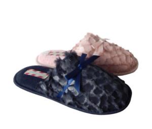 Ladies Mule Slippers Navy or Tan sizes UK 3-4,5-6 /& 7-8