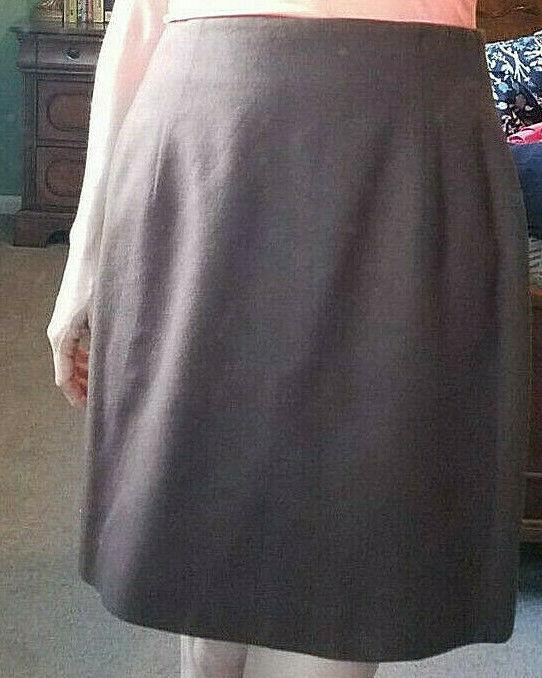 * Pencil SKIRT Brown Wool Flannel, Fitted Mini, School Work Office Women Size 8