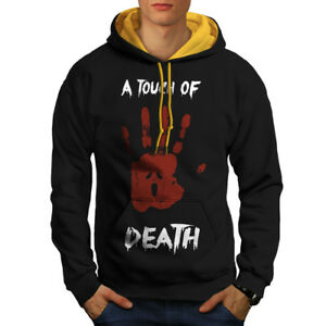Black cappuccio Death Felpa oro Horror Touch Of con da cappuccio New uomo 7xq67wU1z