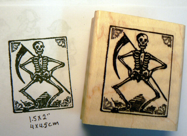 P46 Grim reaper skeleton rubber stamp WM
