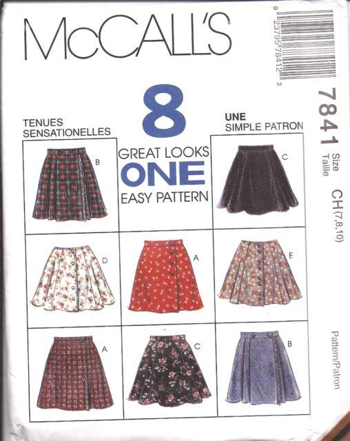 McCalls 7841 Girls Skirts Sewing Pattern 10 12 14 | eBay
