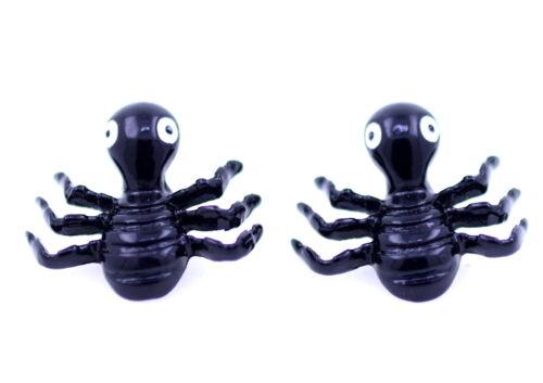 punk biker goth style black spider beetle stud Earrings ant