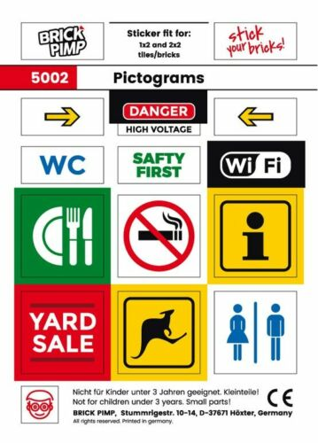 Pictogramme ❤️ STICKER fit for LEGO® tiles ❤️ Pictograms brick plates 5002
