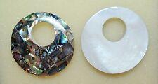 "1.5"" Round MOP Mosaic Abalone Shell Reversible INTERCHANGEABLE Donut Pendant"