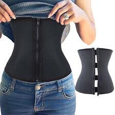 Zip Corset 100% Latex Rubber Waist Trainer Cincher Body Shaper Vest Shapewear #