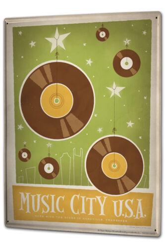 Blechschild XXL Star Music City USA