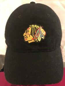 Chicago-Blackhawks-NHL-All-Black-Logo-In-Front-Reebok-Hat-Adjustable-Cap