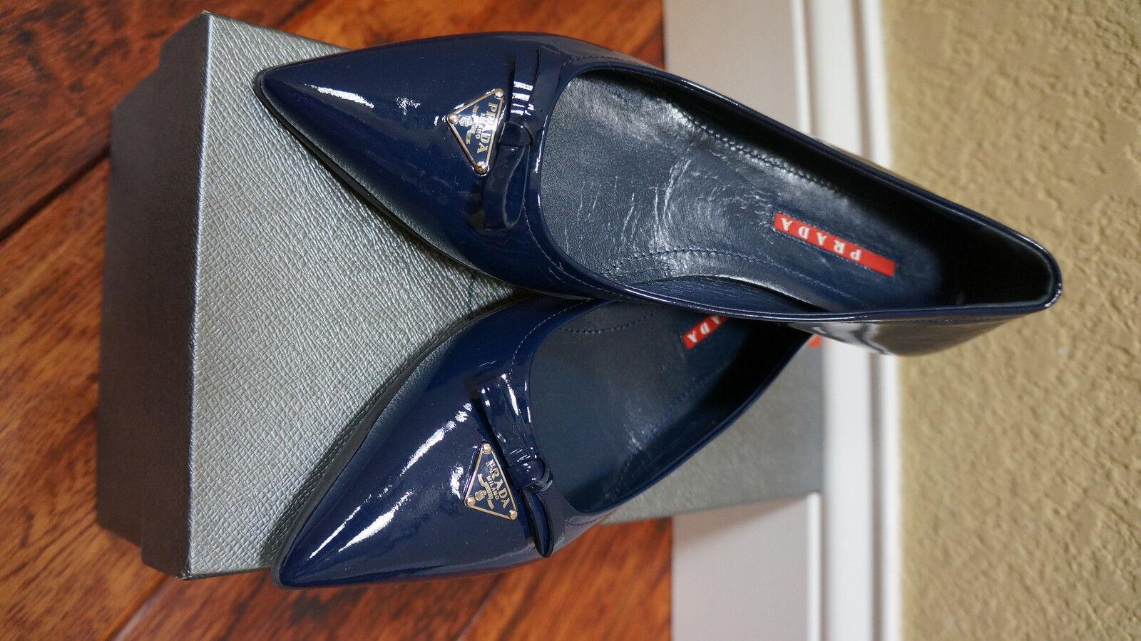 450 450 450 NIB Prada Prada Prada Pelle Ballet Flats Royal blu 35.5EU 5.5US 36   68cc88