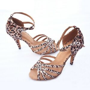 ed934c352 Women Leopard Print Satin Latin Dance Shoes Soft Outsole Ballroom ...