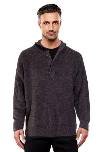 Charcoal Grey Ansett Pure Wool Fisherman Rib Shawl Neck Jumper Knitwear