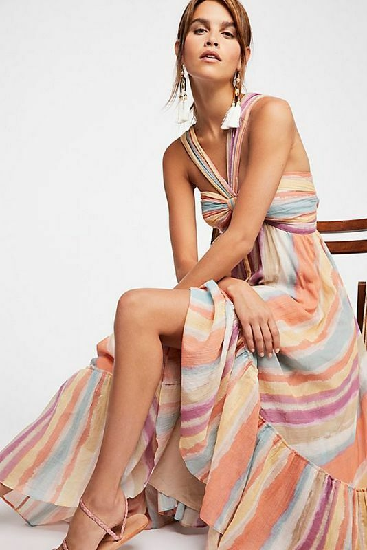 Libre People Neuf Avec Étiquettes Taille 10 Medium M Tropical Sunrise Vacances Robe Longue nouveau
