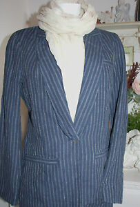 Neu Blue Noa Size Blazer Jacket Dess Linen Striped S 68qTaw